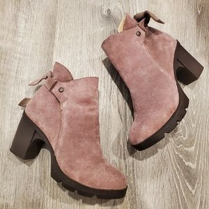 BearPaw Eden Pink Suede Heeled Ankle Boots